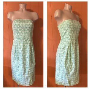 Express Strapless Printed Stretch Cotton Dress 7/8